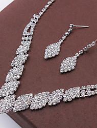 Fashion Rhombic Rhinestone Necklace Set