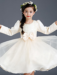 A-line Knee-length Flower Girl Dress - Cotton / Satin / Tulle Long Sleeve Jewel with Bow(s) / Lace / Pearl Detailing