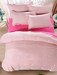 bedtoppings couette couverture couette couette 4pcs définir la taille de reine plat drap taie chèque rose motif imprime microfibre