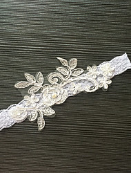 Garter Stretch Satin / Lace Flower / Imitation Pearl White / Gray