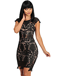 Women's Black Crochet Cap Sleeve Mini Dress