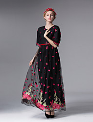 Boutique S Women's Going out Sophisticated Swing DressEmbroidered Round Neck Maxi  Length Sleeve Black Polyester Summer