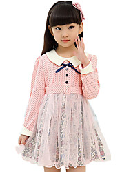 Girl's Cotton Spring/Autumn Fashion Sweet Lace Patchwork Dot Print Long Sleeve Bowknot Dress