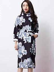 room404 Frauenarbeit chinoiserie Mantel dressfloral Rollkragen Knielänge lange Ärmel