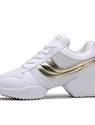 Damen Sneaker Tüll Frühling Herbst Normal Schnürsenkel Flacher Absatz Weiß Rot Golden Flach