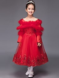 Ball Gown Tea-length Flower Girl Dress - Tulle Long Sleeve Bateau with Appliques