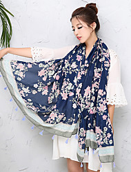 Women Flowers Printing Bohemian National Wind Vintage Fringed Shawl Scarf