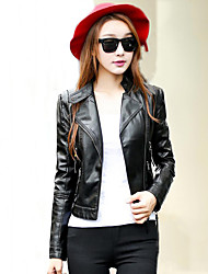 Women's Casual/Daily Simple Fall Leather JacketsSolid Stand Long Sleeve Pink / Black PU Thick