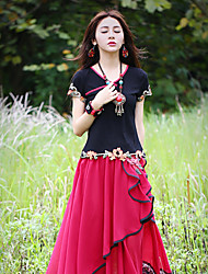 Our Story Going out Vintage Summer T-shirtEmbroidered Sweetheart Short Sleeve Black Cotton / Spandex Medium