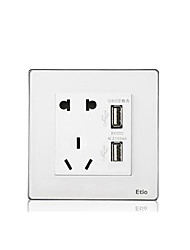 Five-Hole Wall Switch With Dual Usb Smart Home Charging Socket