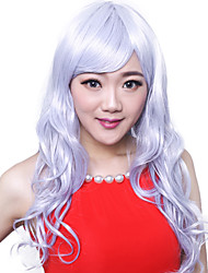 Long Body Wave Synthetic Hair Wigs Side Bang Granny Grey Heat Resistant