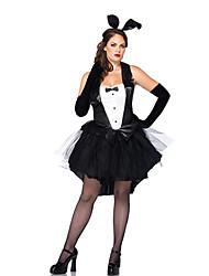 Costumes de Cosplay / Costume de Soirée Bunny girl Fête / Célébration Déguisement Halloween Noir Mosaïque Robe / Plus d'accessoires