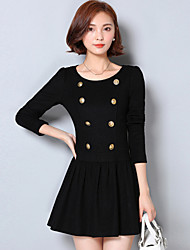 Women's Casual/Daily Simple Sheath DressSolid Round Neck Mini Long Sleeve Black Cotton Fall Mid Rise Micro-elastic