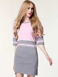Women's Going out / Casual/Daily / Beach Simple / Cute / Street chic Sheath Dress,Color Block / Embroidered