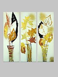 met de hand geschilderde bloemen / botanische moderne olieverf, canvas drie panelen