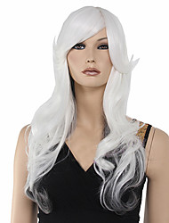 Fashionable Sweet Gray White Medium Long Length Wavy Synthetic Hair Wig
