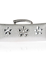 L.west Women Elegant High-grade Diamonds Metallic Flower Evening Bag