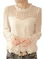 Damen Solide Retro / Einfach Ausgehen / Lässig/Alltäglich T-shirt,Rundhalsausschnitt Frühling / Herbst Langarm Weiß Polyester Mittel