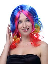 рынк многоцветной синий розовый желтый и красный модерируется длина фигурная Хэллоуин парики синтетические парики Карнавальные парики