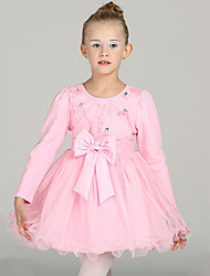 Girl's Casual/Daily Solid Dress,Cotton / Polyester Winter / Fall Pink / Purple