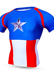 Cycling Jersey Men's Short Sleeve Bike Breathable Quick Dry Compression Comfortable Tops Polyester Terylene Classic SummerExercise &