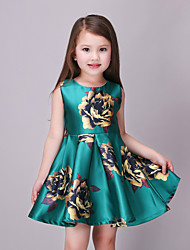 Girl's Casual/Daily Floral DressCotton / Polyester Summer / Spring Green