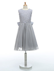 Ball Gown Knee-length Flower Girl Dress - Lace / Organza Sleeveless Jewel with Bow(s) / Lace / Sash / Ribbon