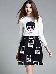 MISS FRENCH  Going out Cute Summer T-shirt SkirtPrint Round Neck Long Sleeve White / Black Cotton Medium