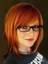 горячая боб средней прямые человеческие волосы парик монолитным смешанный цвет 14 дюймов