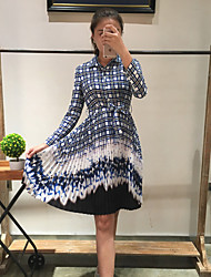 Boutique S Going out / Daily /Sexy / Simple / Cute Sheath Dress,Plaid Shirt Collar Knee-length Long Sleeve Blue Silk