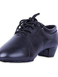 Men's Oxfords Spring Fall Leather Outdoor Casual Chunky Heel Lace-up Black