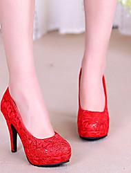 Feminino-Saltos-Plataforma-Salto Agulha Plataforma-Vermelho-Tule-Casamento