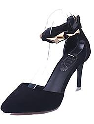 Mujer-Tacón Stiletto-Confort-Tacones-Casual-Vellón-Negro / Beige
