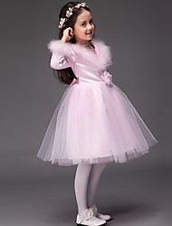 Ball Gown Knee-length Flower Girl Dress - Satin / Tulle Long Sleeve Jewel with Flower(s) / Sequins