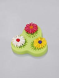 Оптовые формы помады силикона формы gerbera цветка 3cavity для торта украшая цвет случайный