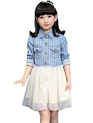Vestido Chica de-Noche-Un Color-Algodón / Poliéster-Verano-Azul