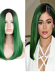 Celebrity Style Kylie Jenner Long Straight Green Color with Dark Roots Heat Resistant Synthetic Wigs Fashion Haristyle