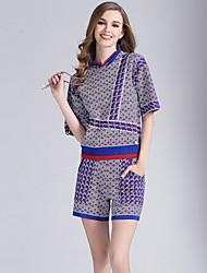 Eosciy® Damen V-Ausschnitt Kurze Ärmel Über dem Knie Overall-80405