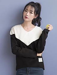 Normal Hoodies Femme Décontracté / Quotidien simple,Couleur Pleine Rouge / Blanc Col en V Manches Longues Polyester Automne Fin