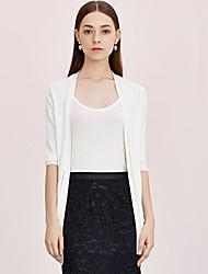 Damen Lang Strickjacke-Lässig/Alltäglich Einfach Solide Weiß / Schwarz / Grün V-Ausschnitt ¾-Arm Kunstseide / Nylon Frühling / Herbst