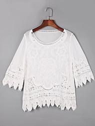 Damen Solide Niedlich Lässig/Alltäglich T-shirt,Rundhalsausschnitt Herbst ½ Länge Ärmel Weiß Baumwolle Dünn
