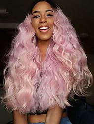 2016 chegam novas raízes escuras moda pêssego cabelo onda dianteira do laço sintético peruca de calor resistentes rosa ombre peruca