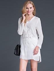 Boutique S Going out Simple Sheath DressEmbroidered Round Neck Above Knee Long Sleeve White Cotton