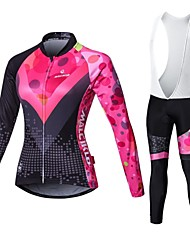 Malciklo Cycling Jersey with Bib Tights Women's Long Sleeves Bike Compression Clothing Tights Quick Dry Front Zipper Wearable High