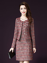 Women's Going out Street chic Fall SetPlaid Round Neck Long Sleeve Multi-color Acrylic / Polyester Medium