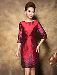 Feminino Bainha Vestido,Formal / Tamanhos Grandes Sofisticado / Chinoiserie Floral Decote Redondo Acima do Joelho Manga ¾ Vermelho