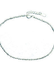 925 Silver Beads Chain Anklets for Women