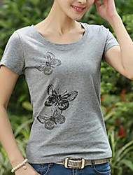 Women's Casual Micro-elastic Short Sleeve Regular T-shirt (Cotton)