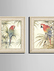 E-HOME® Framed Canvas Art, A Parrot on A Tree Framed Canvas Print One Pcs