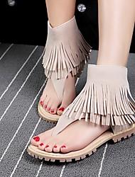 Черный / Зеленый / Бежевый-Женский-Для прогулок-Материал на заказ клиента-На плоской подошве-Удобная обувь-Сандалии